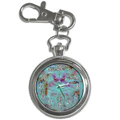 Retro Hippie Abstract Floral Blue Violet Key Chain Watches by CrypticFragmentsDesign