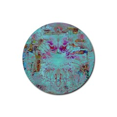Retro Hippie Abstract Floral Blue Violet Rubber Coaster (round)  by CrypticFragmentsDesign