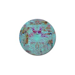 Retro Hippie Abstract Floral Blue Violet Golf Ball Marker by CrypticFragmentsDesign