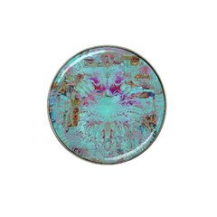 Retro Hippie Abstract Floral Blue Violet Hat Clip Ball Marker by CrypticFragmentsDesign