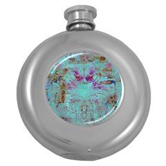 Retro Hippie Abstract Floral Blue Violet Round Hip Flask (5 Oz) by CrypticFragmentsDesign