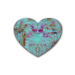 Retro Hippie Abstract Floral Blue Violet Rubber Coaster (heart)  by CrypticFragmentsDesign