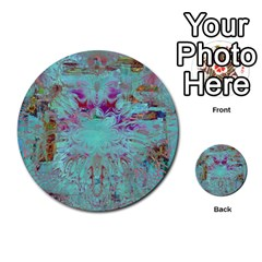 Retro Hippie Abstract Floral Blue Violet Multi Purpose Cards (round)  by CrypticFragmentsDesign