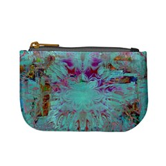Retro Hippie Abstract Floral Blue Violet Mini Coin Purses by CrypticFragmentsDesign