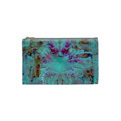 Retro Hippie Abstract Floral Blue Violet Cosmetic Bag (small)  by CrypticFragmentsDesign