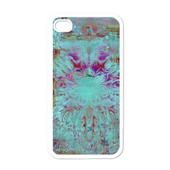 Retro Hippie Abstract Floral Blue Violet Apple Iphone 4 Case (white) by CrypticFragmentsDesign