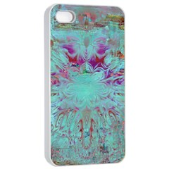 Retro Hippie Abstract Floral Blue Violet Apple Iphone 4/4s Seamless Case (white) by CrypticFragmentsDesign