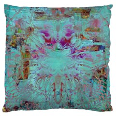 Retro Hippie Abstract Floral Blue Violet Large Cushion Case (one Side) by CrypticFragmentsDesign