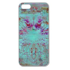 Retro Hippie Abstract Floral Blue Violet Apple Seamless Iphone 5 Case (clear) by CrypticFragmentsDesign
