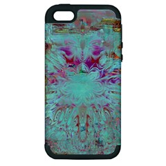 Retro Hippie Abstract Floral Blue Violet Apple Iphone 5 Hardshell Case (pc+silicone) by CrypticFragmentsDesign
