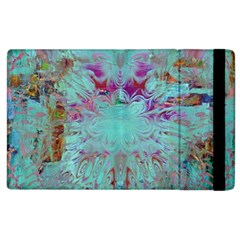 Retro Hippie Abstract Floral Blue Violet Apple Ipad 2 Flip Case by CrypticFragmentsDesign