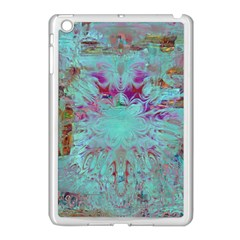 Retro Hippie Abstract Floral Blue Violet Apple Ipad Mini Case (white) by CrypticFragmentsDesign