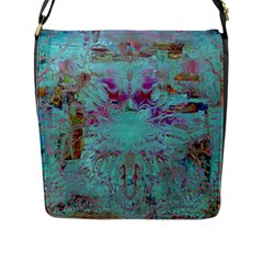 Retro Hippie Abstract Floral Blue Violet Flap Messenger Bag (l)  by CrypticFragmentsDesign
