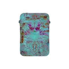 Retro Hippie Abstract Floral Blue Violet Apple Ipad Mini Protective Soft Cases by CrypticFragmentsDesign