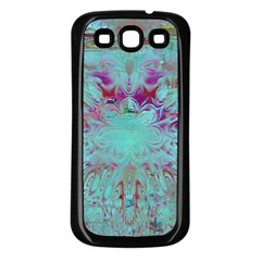 Retro Hippie Abstract Floral Blue Violet Samsung Galaxy S3 Back Case (black) by CrypticFragmentsDesign