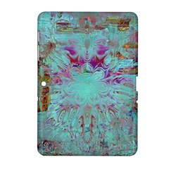 Retro Hippie Abstract Floral Blue Violet Samsung Galaxy Tab 2 (10 1 ) P5100 Hardshell Case  by CrypticFragmentsDesign