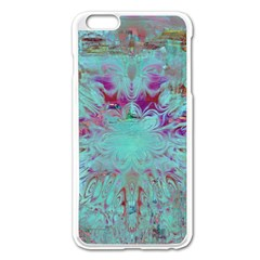 Retro Hippie Abstract Floral Blue Violet Apple Iphone 6 Plus/6s Plus Enamel White Case by CrypticFragmentsDesign