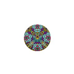 Mariager   Bold Blue,purple And Yellow Flower Design 1  Mini Magnet by Zandiepants