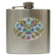 Mariager   Bold Blue,purple And Yellow Flower Design Hip Flask (6 Oz) by Zandiepants