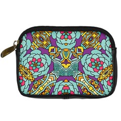 Mariager   Bold Blue,purple And Yellow Flower Design Digital Camera Leather Case by Zandiepants