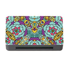 Mariager - Bold Blue,purple And Yellow Flower Design Memory Card Reader With Cf by Zandiepants