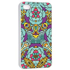 Mariager   Bold Blue,purple And Yellow Flower Design Apple Iphone 4/4s Seamless Case (white) by Zandiepants