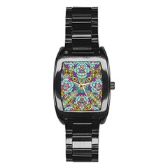 Mariager   Bold Blue,purple And Yellow Flower Design Stainless Steel Barrel Watch by Zandiepants