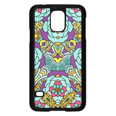Mariager   Bold Blue,purple And Yellow Flower Design Samsung Galaxy S5 Case (black) by Zandiepants