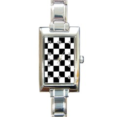 Checkered Flag Race Winner Mosaic Tile Pattern Rectangle Italian Charm Watch by CrypticFragmentsColors