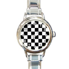 Checkered Flag Race Winner Mosaic Tile Pattern Round Italian Charm Watch by CrypticFragmentsColors
