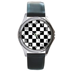 Checkered Flag Race Winner Mosaic Tile Pattern Round Metal Watch by CrypticFragmentsColors