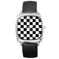 Checkered Flag Race Winner Mosaic Tile Pattern Square Metal Watch by CrypticFragmentsColors