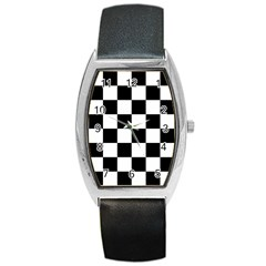Checkered Flag Race Winner Mosaic Tile Pattern Barrel Style Metal Watch by CrypticFragmentsColors