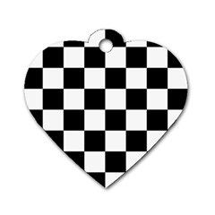 Checkered Flag Race Winner Mosaic Tile Pattern Dog Tag Heart (one Side) by CrypticFragmentsColors