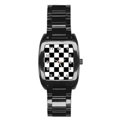 Checkered Flag Race Winner Mosaic Tile Pattern Stainless Steel Barrel Watch by CrypticFragmentsColors