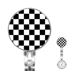 Checkered Flag Race Winner Mosaic Tile Pattern Stainless Steel Nurses Watch by CrypticFragmentsColors