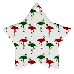 Flamingos Christmas Pattern Red Green Ornament (star) by CrypticFragmentsColors