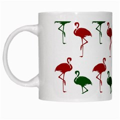 Flamingos Christmas Pattern Red Green White Mug by CrypticFragmentsColors