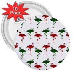 Flamingos Christmas Pattern Red Green 3  Button (10 Pack) by CrypticFragmentsColors