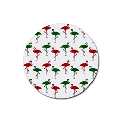 Flamingos Christmas Pattern Red Green Rubber Round Coaster (4 Pack) by CrypticFragmentsColors