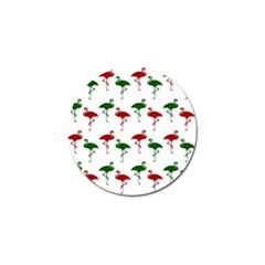 Flamingos Christmas Pattern Red Green Golf Ball Marker (4 Pack) by CrypticFragmentsColors