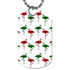 Flamingos Christmas Pattern Red Green Dog Tag (two Sides) by CrypticFragmentsColors
