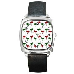 Flamingos Christmas Pattern Red Green Square Metal Watch by CrypticFragmentsColors
