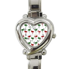Flamingos Christmas Pattern Red Green Heart Italian Charm Watch by CrypticFragmentsColors