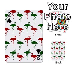 Flamingos Christmas Pattern Red Green Playing Cards 54 Designs by CrypticFragmentsColors