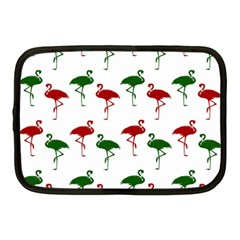 Flamingos Christmas Pattern Red Green Netbook Case (medium) by CrypticFragmentsColors