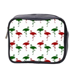 Flamingos Christmas Pattern Red Green Mini Toiletries Bag (two Sides) by CrypticFragmentsColors