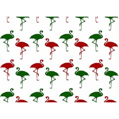 Flamingos Christmas Pattern Red Green Birthday Cake 3d Greeting Card (7x5) by CrypticFragmentsColors