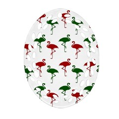 Flamingos Christmas Pattern Red Green Ornament (oval Filigree) by CrypticFragmentsColors