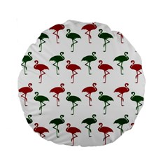 Flamingos Christmas Pattern Red Green Standard 15  Premium Round Cushion  by CrypticFragmentsColors